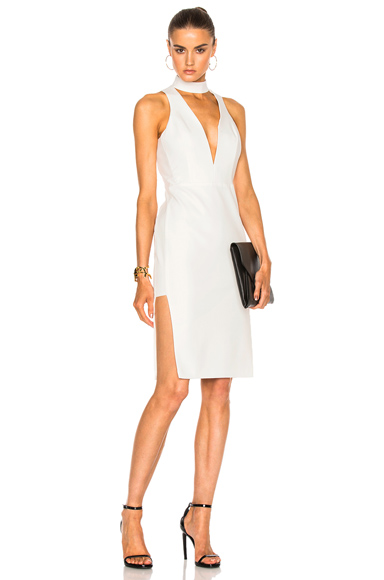 Michelle Mason Choker Plunge Dress in White