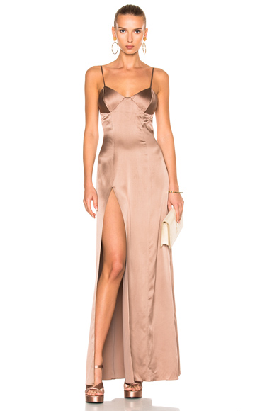 Michelle Mason x FWRD Exclusive Bustier Gown in Neutrals, Pink