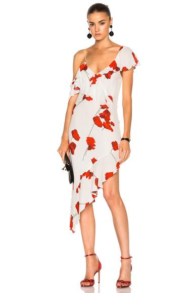 Michelle Mason Asymmetrical Ruffle Dress in Floral, Red, White