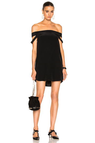 Michelle Mason Off Shoulder Dress in Black