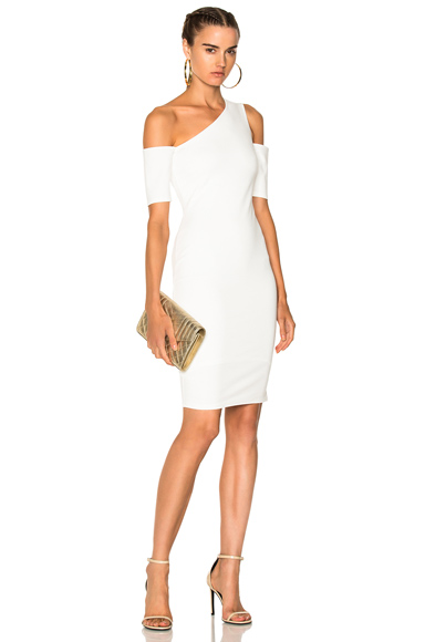 Michelle Mason Asymmetrical Cold Shoulder Dress in White