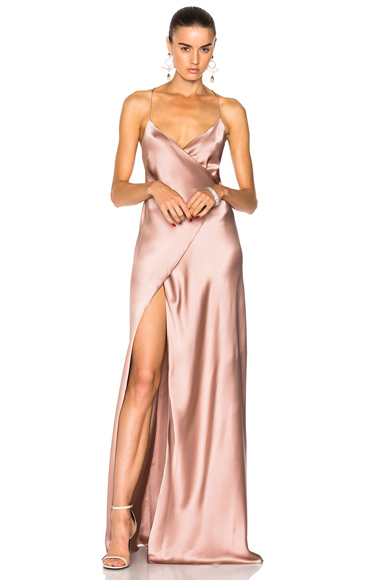 Michelle Mason for FWRD Strappy Wrap Gown in Pink