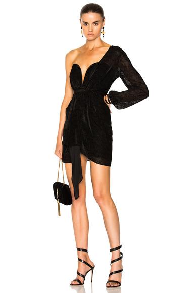 Michelle Mason Draped One Sleeve Mini Dress in Black