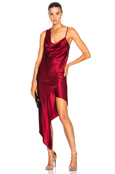 Michelle Mason Bias Cowl Maxi Dress in Red