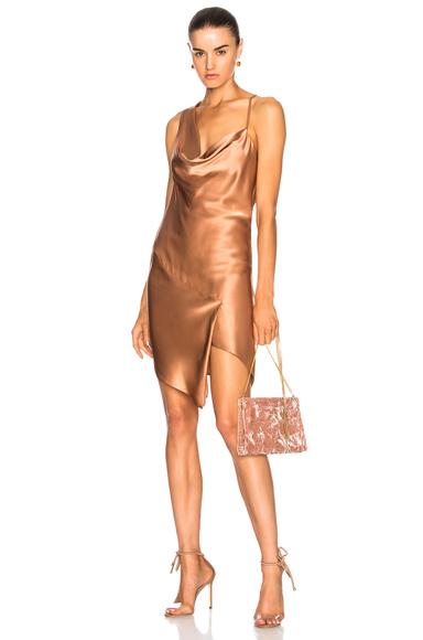 Michelle Mason for FWRD Bias Cowl Neck Dress in Neutrals, Pink