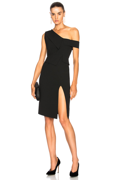 Michelle Mason One Shoulder Dress in Black