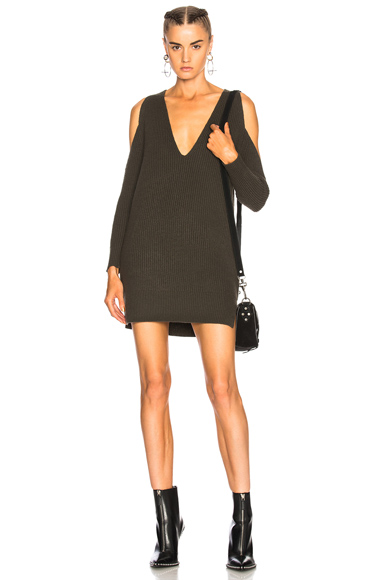 Michelle Mason Cold Shoulder Sweater Dress in Green