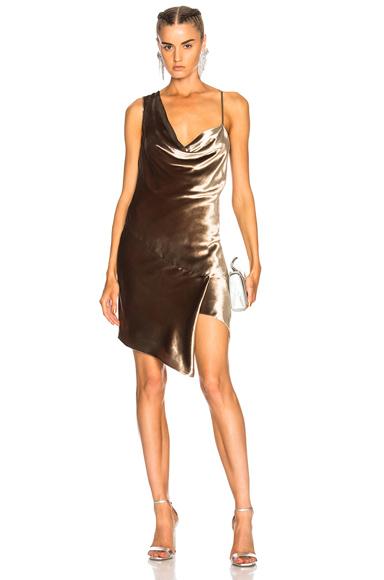 Michelle Mason Bias Cowl Mini Dress in Metallics