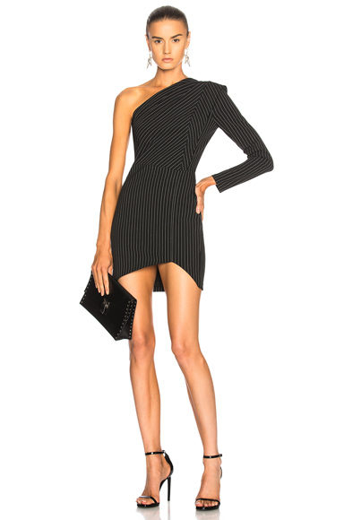 Michelle Mason One Sleeve Dress in Black, Stripe