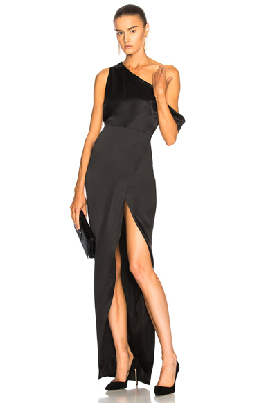 Michelle Mason Draped Shoulder Gown in Black