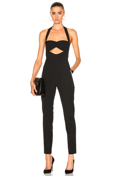 Michelle Mason Cut Out Bandeau Halter Jumpsuit in Black