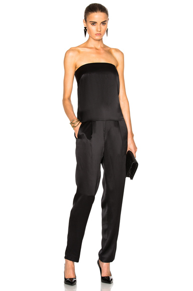 Michelle Mason Strapless Jumpsuit in Black