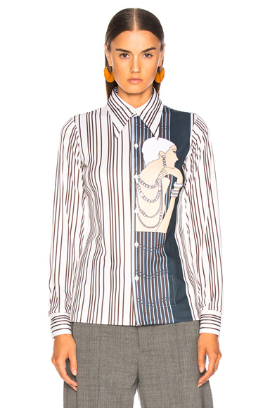 MAISON MARGIELA | Maison Margiela Vintage Poly Shirt In Abstract,Blue,Stripes,White. - Size 38 (Also In ) | Goxip