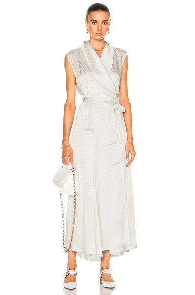Maison Margiela Wrap Dress in Abstract, Gray, Metallics
