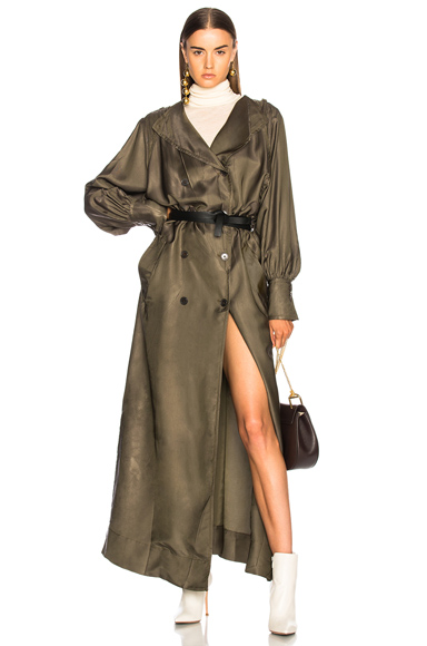 Maison Margiela Twill Maxi Wrap Dress in Green