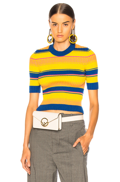 MAISON MARGIELA   Maison Margiela Striped Short Sleeve Sweater In Blue,Stripes,Yellow. - Size S (Also In L)   Goxip