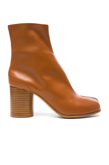 Maison Margiela Leather Split Toe Booties in Brown