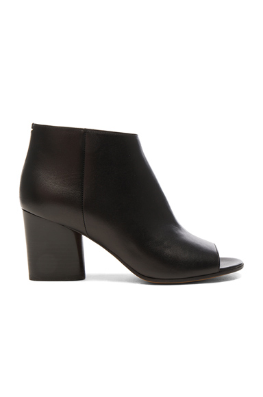 Maison Margiela Leather Open Toe Booties in Black