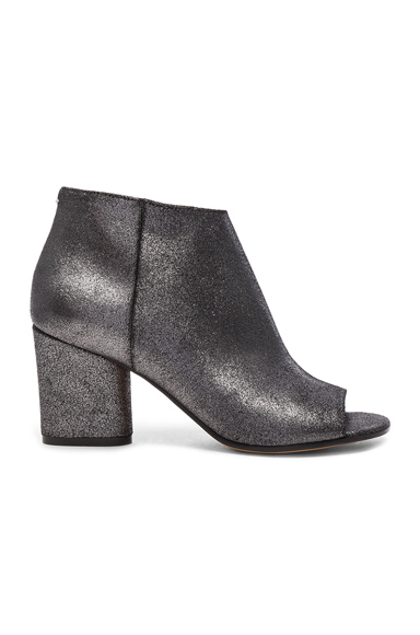 Maison Margiela Open Toe Booties in Black, Metallics