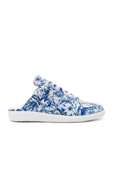 Maison Margiela Printed Leather Sneakers in Blue, White