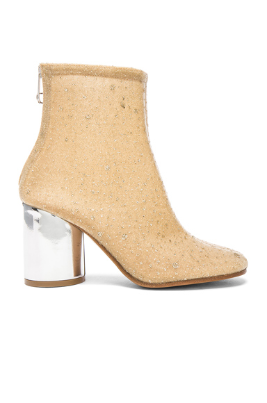 Maison Margiela Heeled Booties in Metallics, Neutrals