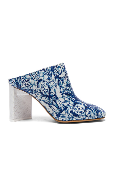 Maison Margiela Printed Leather Mules in Blue, Abstract, Floral