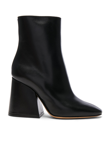 Maison Margiela Leather Block Heel Boots in Black