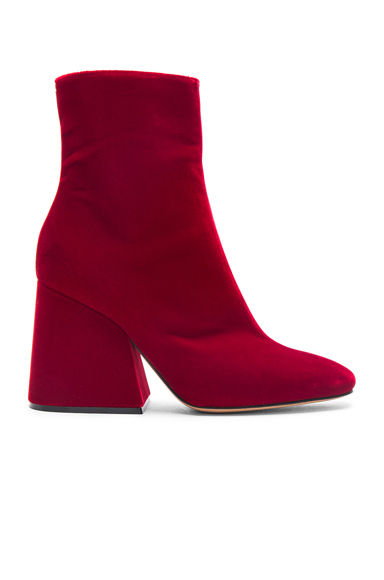 Maison Margiela Velvet Block Heel Boots in Red
