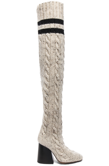 Photo of Maison Margiela Knit Knee High Boots in Neutrals online womens shoes sales