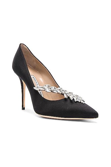 Manolo Blahnik Satin Nadira Heels in Black