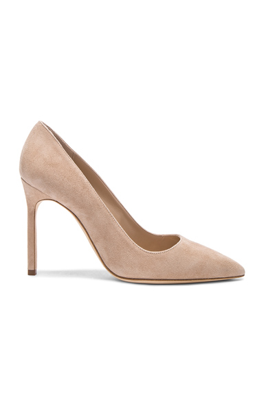 MANOLO BLAHNIK | Manolo Blahnik BB 105 Suede Pumps In Nude. - Size 42 (Also In 38.5,39.5) | Goxip