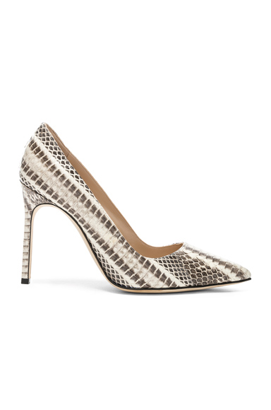 MANOLO BLAHNIK | Manolo Blahnik BB Watersnake 105 Heel In Animal Print,Gray,White. - Size 41 (Also In 37.5,38,39.5,40) | Goxip