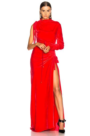 Monse Velvet Drawstring Gown in Red