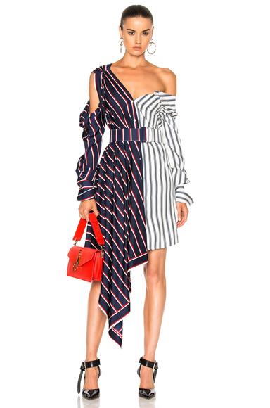 Monse Silk Twill Asymmetrical Dress in Blue, Red, Stripes, White