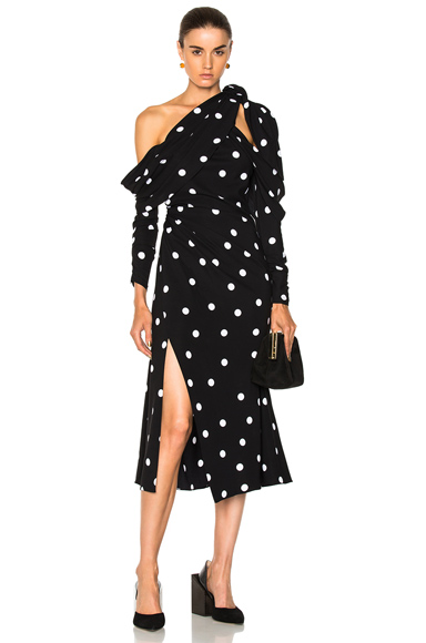 Monse Polka Dot Dress in Black, Geometric Print