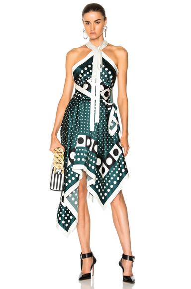 Monse Asymmetric Dress in Green, Abstract
