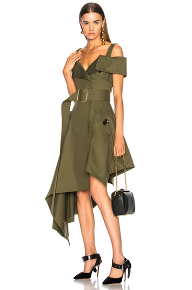 Monse for FWRD Canvas Dress in Green
