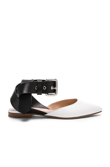 Monse Leather Flats in White