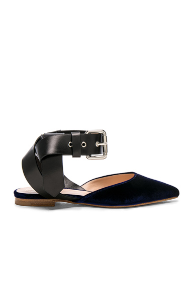 Monse Velvet Flats in Black, Blue