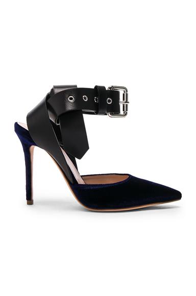 Monse Velvet Heels in Black, Blue