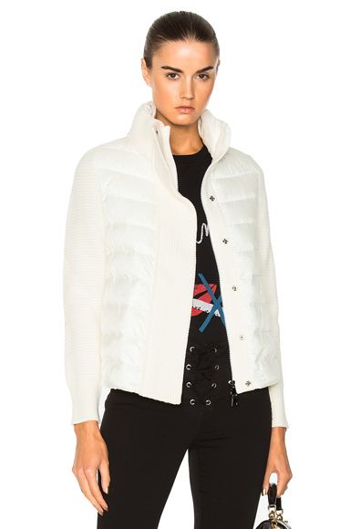 Moncler Maglione Tricot Jacket in Neutrals, White