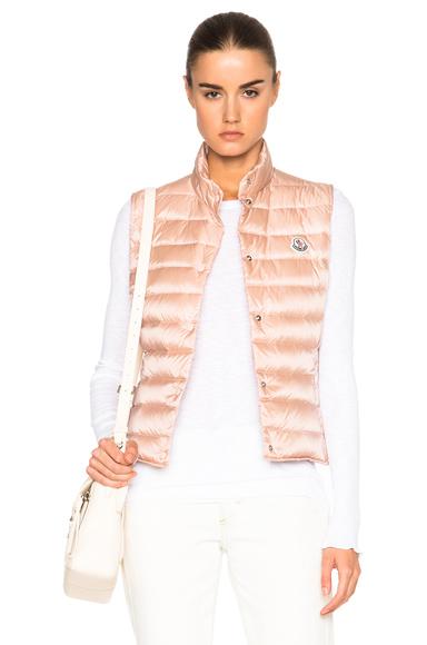 Moncler Liane Polyamide Vest in Neutrals, Pink
