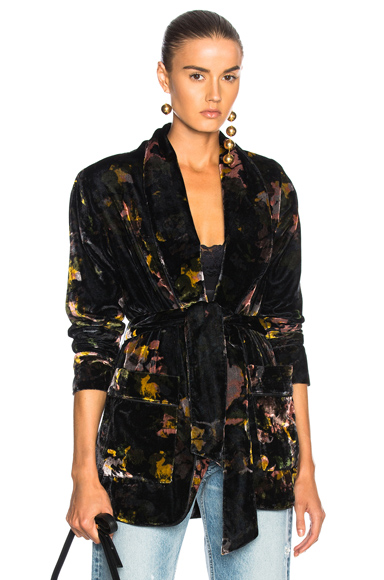 MOTHER Wrap Up Jacket in Abstract, Black, Floral