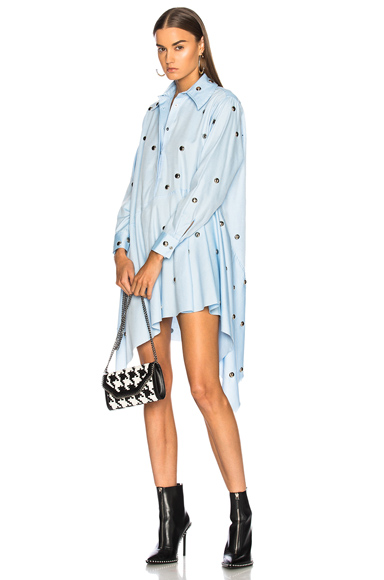 Marques ' Almeida Studded Asymmetric Shirt Dress in Blue