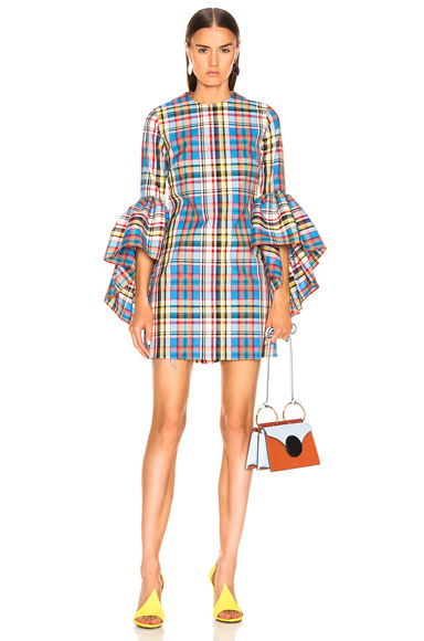 MARQUES ' ALMEIDA | Marques ' Almeida Janis Oyster Sleeve Dress In Blue,Plaid,Red. - Size S (Also In XS,M) | Goxip