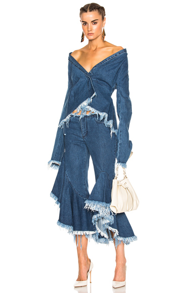 Marques ' Almeida Drape Fitted Jacket in Blue