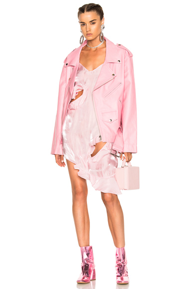 Marques ' Almeida Oversized Biker Jacket in Pink