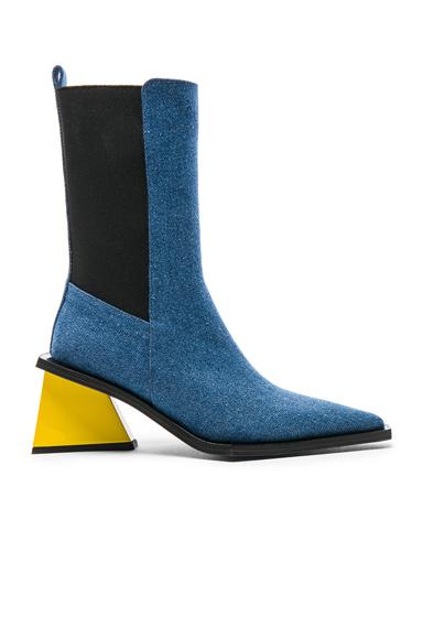 Marques ' Almeida Pointy Mid Denim Heel Boots in Blue