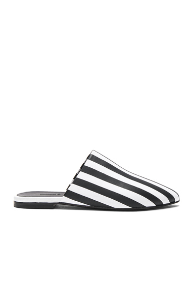 Marques ' Almeida Stripe Leather Flat Pointy Mules in Black, White, Stripes