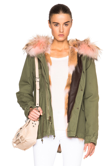 Mr & Mrs Italy Mini Army Parka Jacket With Coyote & Raccoon Fur in Green